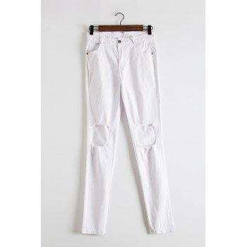 Fashionable Women's Mid-Waisted Solid Color Skinny Broken Hole Jeans