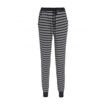 Casual Style Elastic Waist Black and White Stripe Pocket Women's Pants