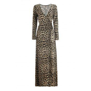 Alluring Leopard Printed Plunging Neck Long Sleeve Slit Maxi Dress For Women