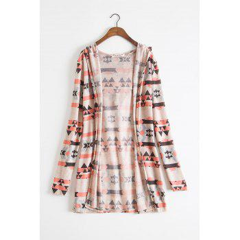 Ethnic Style Colorful Print Hooded Long Sleeve Thin Cardigan For Women