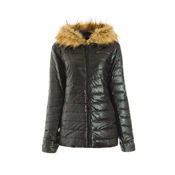 Stunning Women's Faux Fur Collar Long Sleeve Hooded Coat