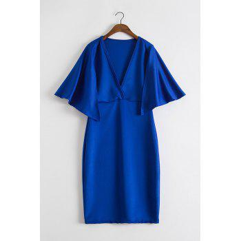 Chic Pure Color Plunging Neck Cape Dress For Women