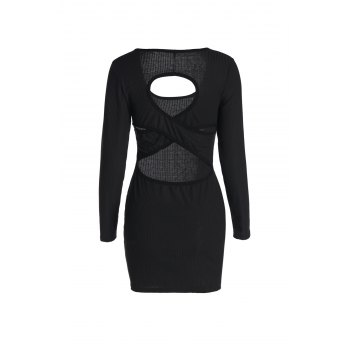 Sexy Black U-Neck Hollow Long Sleeve Dress For Women - BLACK S