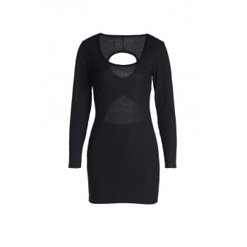 Sexy Black U-Neck Hollow Long Sleeve Dress For Women