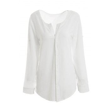 Women's Fashional Solid Color Long Sleeve Chiffon Shirt - WHITE XL