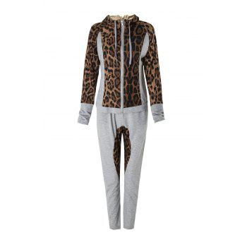 Stylish Long Sleeve Hooded Leopard Print Hoodie + Drawstring Pants Women's Twinset - GRAY M
