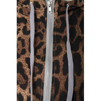 Stylish Long Sleeve Hooded Leopard Print Hoodie + Drawstring Pants Women's Twinset - M M