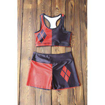 Stylish Women's U Neck Color Block Tank Top and Shorts Suit - RED WITH BLACK M