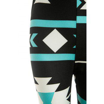 Trendy Geometric Printed Elastic Waist Bodycon Pants For Women - BLACK BLACK