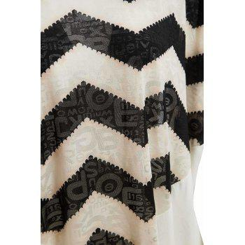 Women's Loose-Fitting Scoop Neck Sawtooth Print Batwing Sleeve Blouse - XL XL