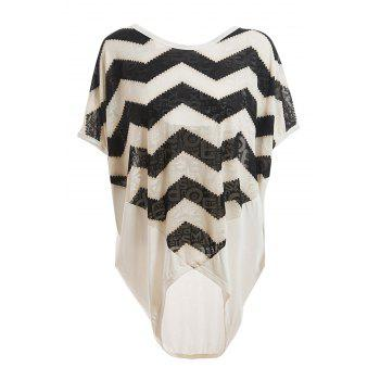 Women's Loose-Fitting Scoop Neck Sawtooth Print Batwing Sleeve Blouse - WHITE WHITE