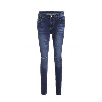 Stylish High-Waisted Skinny Ripped Women's Jeans - DEEP BLUE M