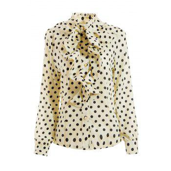 Elegant Style Stand Collar Polka Dot Flouncing Embellished Long Sleeve Chiffon Women's Shirt - WHITE XL