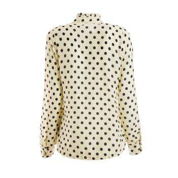 Elegant Style Stand Collar Polka Dot Flouncing Embellished Long Sleeve Chiffon Women's Shirt - XL XL