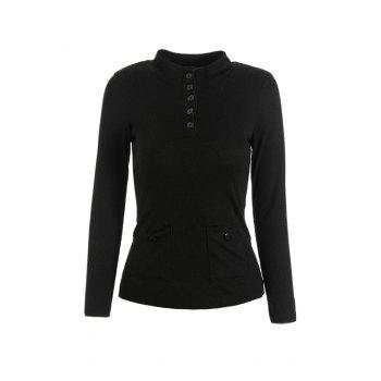 Buy Stylish Long Sleeve Stand Collar Buttoned Solid Color Women's Slimming Knitwear BLACK