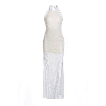 Sexy Jewel Neck Sleeveless Open Back Solid Color Women's Slit Dress - WHITE WHITE
