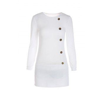 Stylish Scoop Neck Long Sleeve Single-Breasted Solid Color Women's Dress