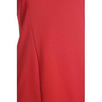 Women's Short Sleeve Red Jewel Neck Skinny Dress - RED L