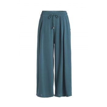 Casual Women's Elastic Waist Solid Color Wide Leg Pants