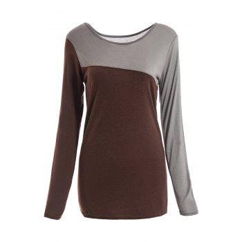 Slim Fit Scoop Neck Color Matching Long Sleeve Women's T-Shirt
