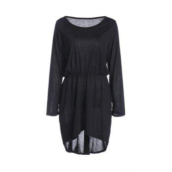 Sexy Off-The-Shoulder Long Sleeve Solid Color Asymmetric Dress For Women