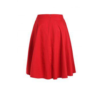 Noble Solid Color High Waist A-Line Ball Skirt For Women - WINE RED XL