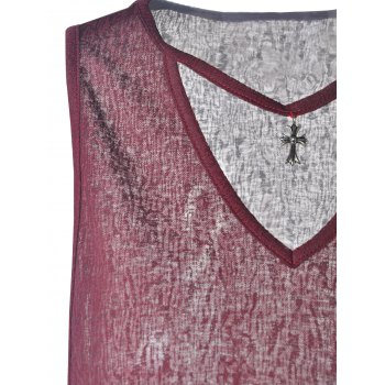 Simple Design V-Neck Loose-Fitting Cotton Blend Tees For Women - WINE RED S