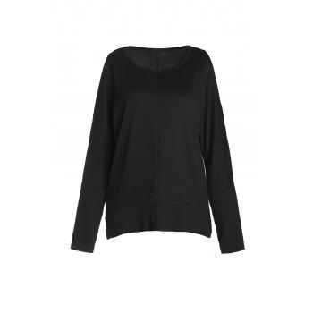 Stylish Women's Scoop Neck Long Sleeve Side Slit Hollow Out T-Shirt