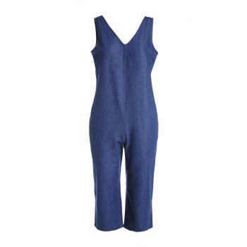 Fashionable Women's V-Neck Wide Leg Denim Jumpsuit
