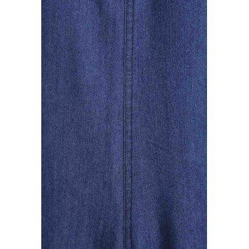 Fashionable Women's V-Neck Wide Leg Denim Jumpsuit - DEEP BLUE L