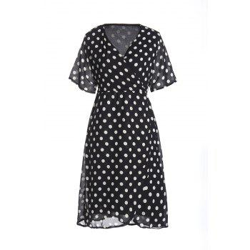 Brief Women's V-Neck Polka Dot Print Short Sleeve Dress