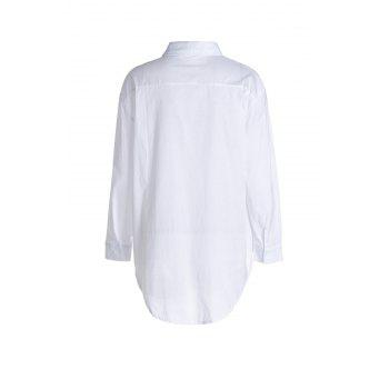 Casual Shirt Collar Long Sleeves Loose-Fitting Shirt For Women - WHITE XL