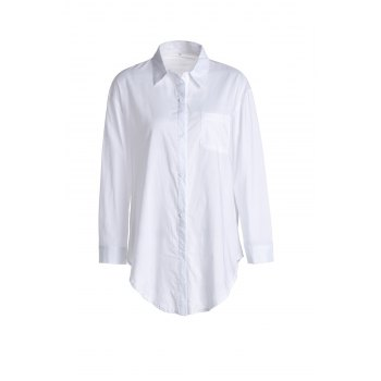 Casual Shirt Collar Long Sleeves Loose-Fitting Shirt For Women - WHITE WHITE