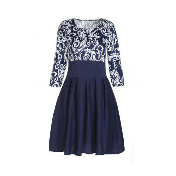 Elegant Women's Square Collar Floral Print 3/4 Sleeve Dress