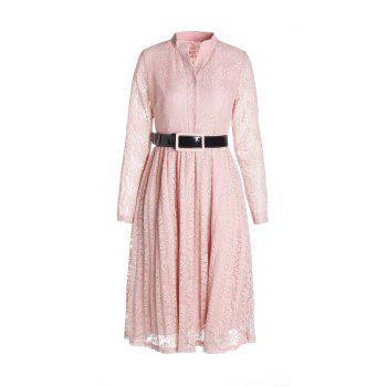 Stylish Stand-Up Collar Long Sleeve Belted Women's Lace Dress