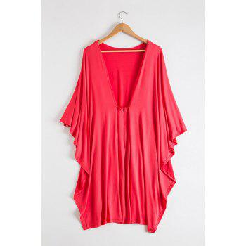 Attractive Bertha Collar Backless Solid Color Bodycon Cape Dress For Women - XL XL