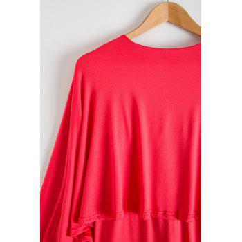 Attractive Bertha Collar Backless Solid Color Bodycon Cape Dress For Women - WATERMELON RED WATERMELON RED