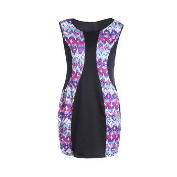 Ethnic Style Colorful Printed Jewel Neck Sleeveless Boydcon Dress For Women