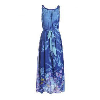 Bohemian Women's Round Collar Flower Print Sleeveless Dress