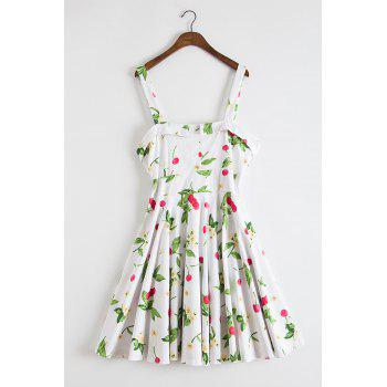 Sweet Style Sleeveless Square Neck Cherry and Floral Print Women's Dress