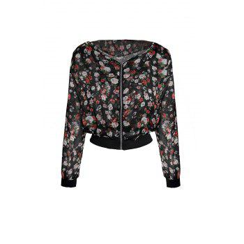 Women's Fashionable Floral Print Shoulder Pad Zipper Long Sleeves Chiffon Coat