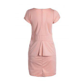 Women's Charming Plunging Neck Fold Short Sleeve Solid Color Dress - ONE SIZE ONE SIZE