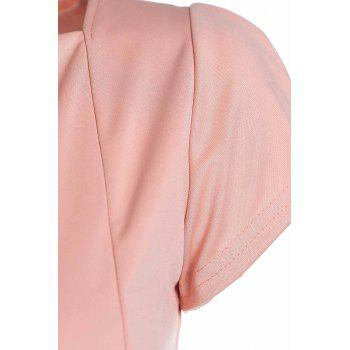 Women's Charming Plunging Neck Fold Short Sleeve Solid Color Dress - PINK ONE SIZE