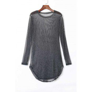 Sexy Solid Color Long Sleeve See-Through Slit Dress For Women