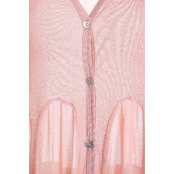 Women's Sweet Ruffled Single-Breasted Flouncing Hem Solid Color Knit Cardigan - PINK ONE SIZE