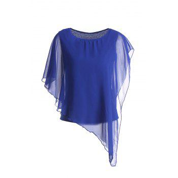 Chiffon Fashionable Style Solid Color Flounce Edge Scoop Neck Women's Blouse