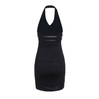 Plunging Neck Halter Bodycon Dress