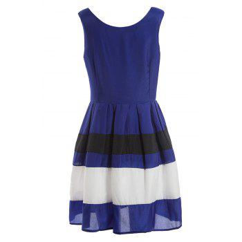 Sleeveless Sweet Color Matching Vintage Style Women's Dress - BLUE L