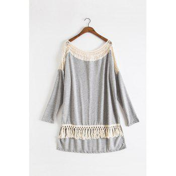 Fashionable Long Sleeve Round Collar Tassels Embellished Hollow Out Women's T-Shirt