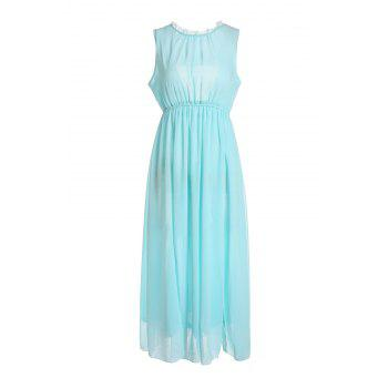 Round Neck Open Back Sleeveless Chiffon Bohemian Style Women's Dress - L L